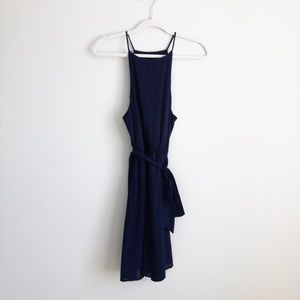 Boutique style navy high neck dress with bow